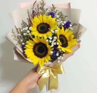 Sunflowers Bouquet with Baby Breath in Korean Duo Tone Wrapping