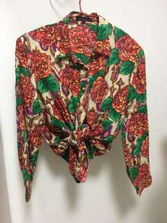Vintage button down 100% silk blouse