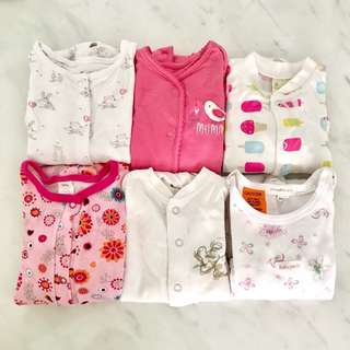 Preloved baby girl sleep suits (3 to 12 months)
