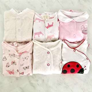 Preloved baby girl sleep suits (0 to 6 months)