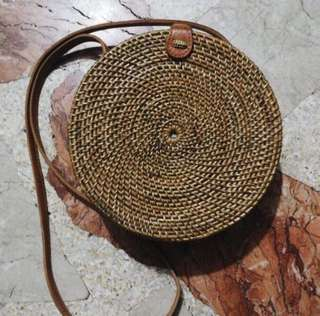 Round Handwoven Bali Rattan Bag