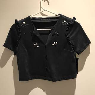 Zara cropped suede top