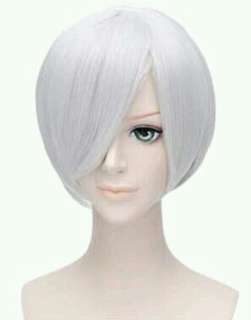 Short Silver White Bob Hime Cut Wig