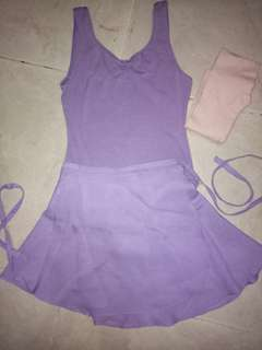 Set baju senam balet ungu leotard dan rok bonus stoking pink