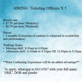 Cahsiering Officer @ Attraction x 10