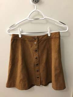 A&F Suede Button Skirt