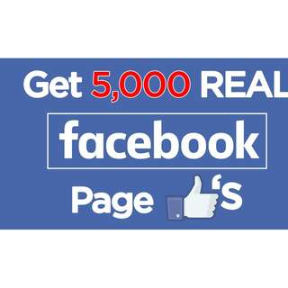 Get real 5,000 facebook Fan page likes