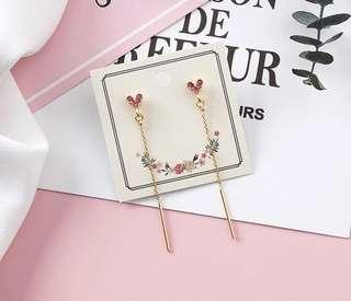 PO - Simple Love Heart Long Tassel Earrings