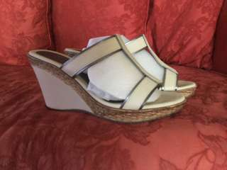 Aily cream leather wedge mule