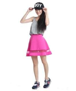 The Tinsel Rack TTR Mesh Up Circle Skirt (Hot Pink)