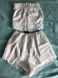 White Strapless Top and Matching Shorts