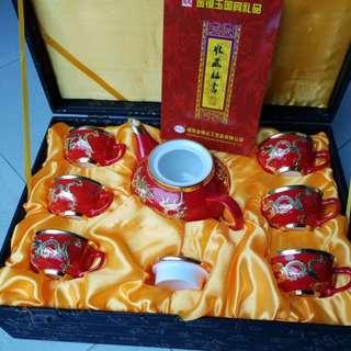 威海金鑲玉紅瓷7頭茶具套裝 工藝品 收藏品 中國傳統手工藝品