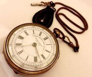 過佰年 瑞士制古董特大锁匙上鍊懷錶 Swiss made Centre Second Chronograph Pocket Watch (Huge Size 56mm): 罕有100%原裝完美白瓷面Original Mint Porcelain Dial,大三針運行,行走及暫停手掣設計(Run and Stop Button),配上特大銅造外殼(56mm直徑),Key Winding 锁匙上鍊較針,附古董懷錶鏈及扣,運作中。