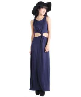 The Tinsel Rack TTR Tres Cutout Maxi Dress (Navy)
