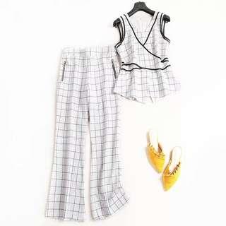 🚚 氣質V領上衣+長寬褲