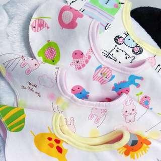Baby Bibs Cotton Flower Star Waterproof Slobber Towel Baby Bib Swivel Snap