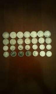 香港硬幣:女皇頭及男皇頭(5毫:大1毫:小1毫:2毫)::5毫1990年女皇頭7個::大1毫1950年男皇頭7個::2毫1990年女皇頭7個::小1毫1990年女皇頭7個)全共28個
