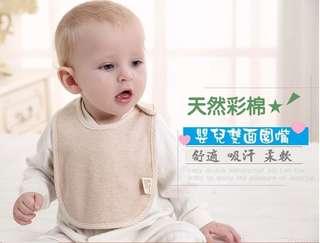 嬰兒 天然 有機彩 棉按 扣圍嘴 全棉 寶寶圍嘴 二件入