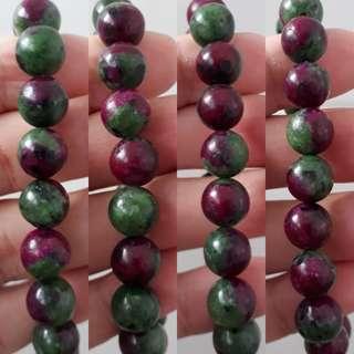 Very nice Ruby Zoisite Bracelet.(红绿宝手链) Bead size 10mm.
