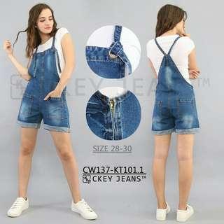 ORI Overall Jeans Pendek Wanita/Jamsuit