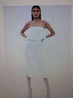 Miss guided White Satin Double Layer Jumpsuit