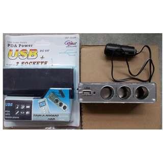 New Car Lighter Plug Power Splitter With USB For Sale