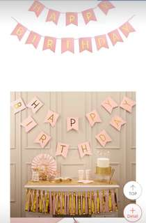 BABY SHOWER Pink and Gold Decorations Banner
