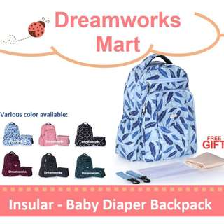 [INSULAR] Diaper Nappy Bagpack with Thermal Insulation Diaper Stroller Bag