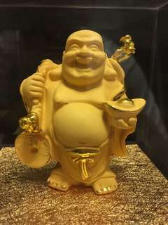 Gold plated Laughing Buddha statue come with cert(金沙石弥勒佛/笑佛雕像有待鉴定书)