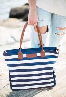 Sarah wells striped Abby leather bag