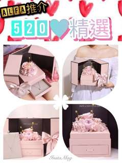 520 情人節 禮物 女朋友 老婆 925 純銀頸鏈 手飾盒 粉紅色 永生花 玫瑰花 擺設 一生一世 DIY 獨一無二