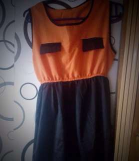 Orange&Black High-low dress