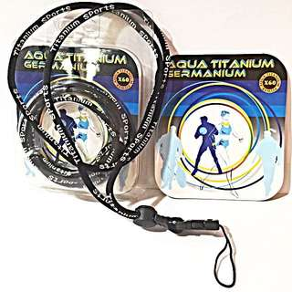 Aqua Titanium Germanium Necklace To Attach To Hand phone . It Helps Relieve Pain From Neck By Stimulating Blood Circulation And Also Enhance Immunity System.