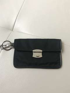 Authentic Prada Tessuto And Leather Card Holder