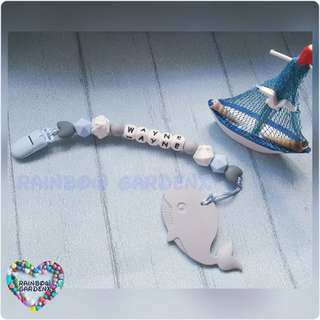 Handmade Customized Pacifier Clip + Grey Whale Teether with letter beads