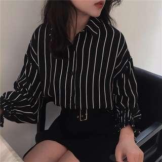 Black Striped Oversized Blouse
