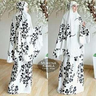 Mukena Muslim Wanita Kamila 4 Warna White Black Brown Maroon