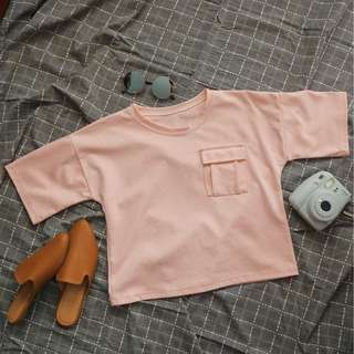 Baby Pink Crop Top With Pocket