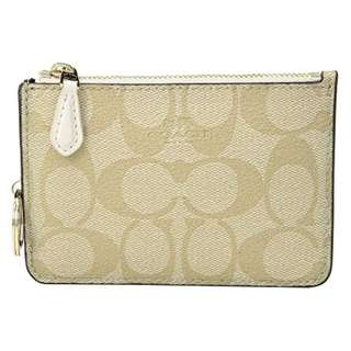Brand New COACH Signature PVC Key Pouch with Gusset