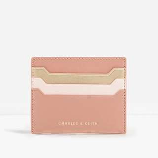 CHARLES AND KEITH BASIC TWO-TONE CARDHOLDER IN PINK/GOLD