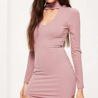 Missguided Pink Curved Hem Choker Neck Dress