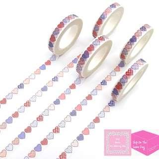 Set of 10m Colourful Hearts Love Slim Washi Tape