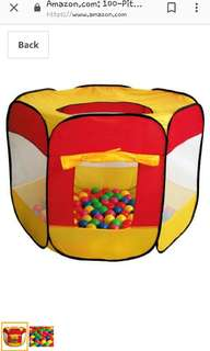 Preloved Hexagon Mesh Ball pit / Play tent with balls