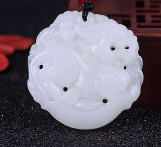 natural hetian white jade kylin amulet pendant + free necklace (50mm x 50mm)