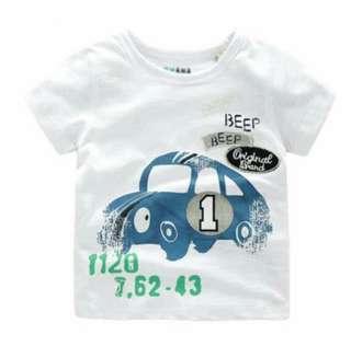 兒童夏季白色汽車卡通圖案短袖上衣 T Shirt