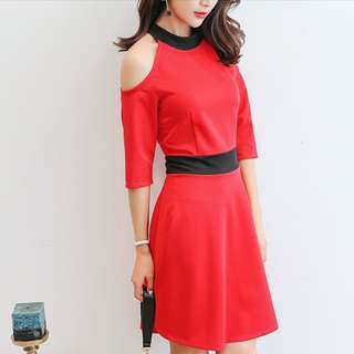 30% OFF Korean Women Off Shoulder Short Sleeve Tight Casual Dress