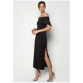 Apartment 8 Inspired Black Off Shoulder Gown with slit