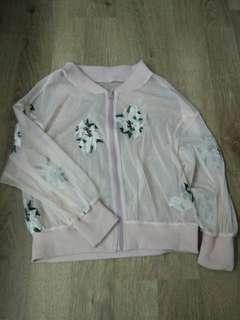 綉花網纱外套