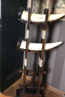 Zen Solid wood floor lamp with stone  招财进宝