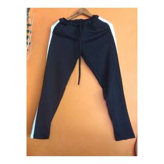 One stripped track pants(black)